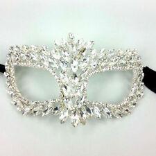 Chunky Clear Crystal Rhinestone Royal Venetian Masquerade Eye Mask Prom, Wedding