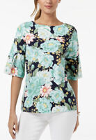 NWT Women's Petite Charter Club Ruffle, Bell Sleeve Floral Print Top Sz Medium P