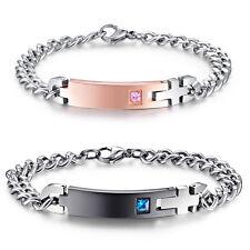Men's Women's Couples Stainless Steel Engravable Name Bar ID Bracelet Set