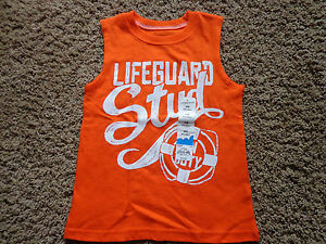 JUMPING BEANS boys sz S (4) orange muscle tank NWT Lifeguard Stud sleeveless top