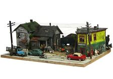 HO/HOn3 Custom Built Weathered Downtown City Block Bar Scratch Building Diorama