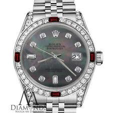 Women's Rolex 31mm Datejust Black MOP Dial with 8+2 Ruby & Diamond Bezel Watch