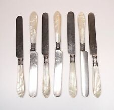 6 Vintage English Carved MOP Mother of Pearl Handle + Sterling Table Knives