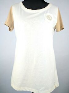 New Ralph Lauren Active Women's Pocket T Shirt Ivory Brown Size S Top MSRP $29