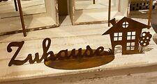 Edelrost Schriftzug Zuhause auf Bodenplatte mit Haus 62 x 20 cm Gartendekoration