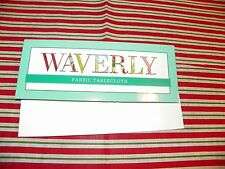 NIP WAVERLY Red Green White Stripe Christmas Tablecloth 52 x 70 Oblong