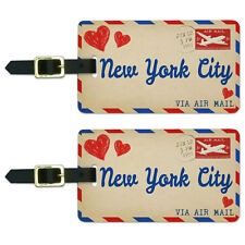 Air Mail Postcard Love for New York City Luggage Suitcase ID Tags Set of 2