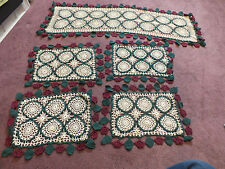 Beautiful Handmade Crocheted Doily Table Runner Set 5 16 x 14 & 40 x 14 Matched
