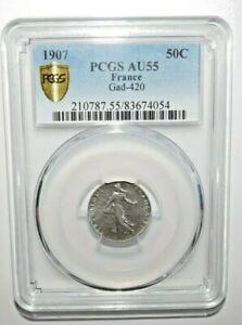 1907 FRANCE 50 CENTIMES PCGS AU55 Silver <KM#854>