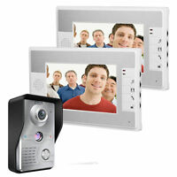 "7""LCD Wired Video Door Phone Intercom Doorbell Home Security System 2 Monitor"