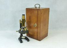 Rare Microscope dans langue source Boîte en bois Carl Zeiss Jena Numéro 80161