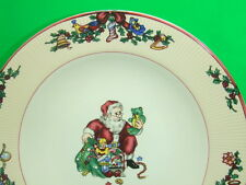 "FITZ & FLOYD CHRISTMAS DISHES SANTA'S LIST 2 9"" RIMMED SOUP BOWLS 1994 EUCA"