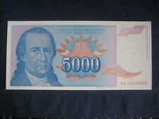 Yougoslavie 1994 issue - 5,000 Dinara - 1994 P141a-treillis filigrane UNC