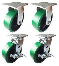 "6"" x 2""  Polyurethane on Cast Iron (Green) - 2 Rigids & 2 Swivels with Brake"