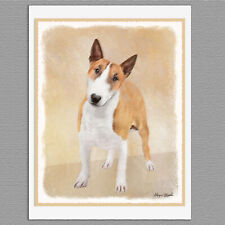 6 Miniature Bull Terrier Dog Blank Art Note Greeting Cards