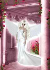 Rose Angel Birthday Card for women & girls beautiful pink/white friends/family