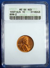 1937-D/D  LINCOLN CENT. ANACS MS64 RED. REPUNCHED MINTMARK D OVER D. RPM-2.