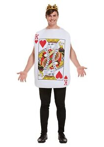 Adults Playing Card Costume KING  OF HEARTS Fancy Dress Poker Casino Outfit