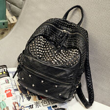 Womens Genuine Leather Handbag Travel Hiking Shopping Backpacks Punk Rivet Bag