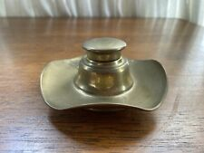 GERMAN BRASS INKWELL TRAY WITH LID RUFFLED EDGE STAMPED GERMANY