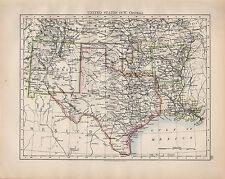 Mapa de 1902 Estados Unidos South West Texas Central Nuevo México Arkansas indio Terri