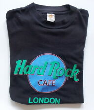 Vintage 1980s HARD ROCK CAFE LONDON -- Preowned Men's Large -- BLACK SHIRT tb