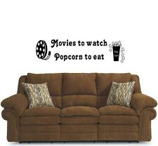 Movies to eat popcorn to eat Vinyl Wall Decal Stickers Decor Letters Graphics