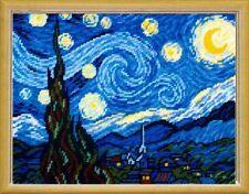 "Cross Stitch DIY Kit / Printed Canvas ""Starry Night by V. van Gogh"" 24x32 cm"
