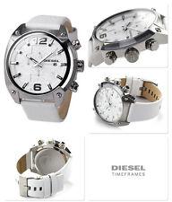 NWT Diesel Unisex Chronograph Overflow White Leather Strap Watch 54x49mm DZ4315
