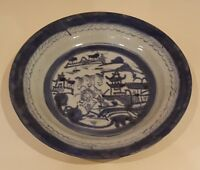 Chinese export blue & white vintage pre Victorian oriental antique dish plate