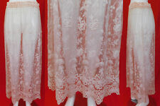 New listing Vintage Sheer Pink Pastel Net Tulle Tambour Embroidery Lace Boho Long Maxi Skirt