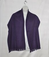 Linea by Louis Dell'Olio Houndstooth Scarf with Fringe Detail -- Black/Violet