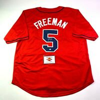 Freddie Freeman Authentic Signed Autographed Custom Red Jersey COA Braves