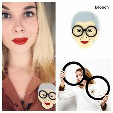 Vintage Old Lady Brooch Grandmother Brooch Pin Black Glasses Retro Medieval Gift