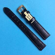 Lederband Band Ersatzband mit Krokoprägung schwarz 14 mm Di-Modell Strap