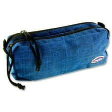 """Double Pocket Compartment zipped Pencil case- """"Washed Denim"""""""