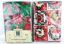 "2 Christmas Flannel Backed Vinyl Tablecloth Round 60"" Ashley Taylor/Ditman"