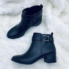 New listing Anne Klein Womens Bootie Jeannie Black Faux Leather Almond Toe Fashion Size 6.5