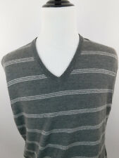 Brooks Brothers XL Sweater Vest Mens Gray V Neck 100% Merino Wool