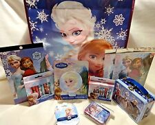 DISNEY FROZEN 11 pc Gift Set Lunchbox Stickers Jewelry Tatoos Charm Crayons Qtip