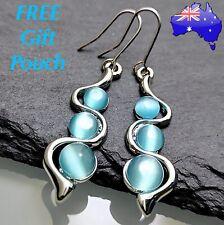 Blue Moonstone Crystal Twist Wavy Dangle Drop Hook Silver Fashion Earrings Gift
