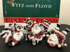 Fitz and Floyd Yuletide Holiday Tumblers Set of 3 Santa w Candy Cane Figurines