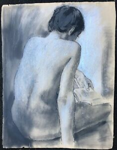 Nude Reading with Book on Knee Oil Crayon & Chalk Drawing-1960s-August Mosca