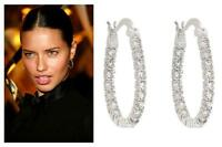 Celebrity Style Jewelry 1.8 Ct CZ 1 Inch Round Prong Silver Lever Hoop Earrings