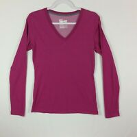 Nike Dri Fit Womens Medium Pink Long Sleeve V-Neck Pullover Top