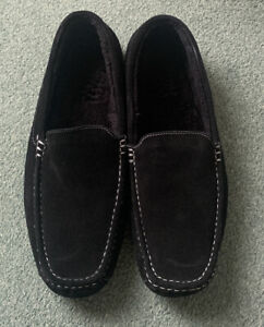 Mens Suede Moccasin Slippers Size 14