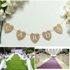 Jute Hessian Burlap Hearts Rustic Vintage Wedding Cards Bunting Banner Sign