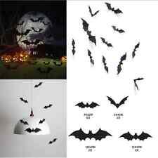 12PCS DIY Black Cool Lively BATS Halloween Bat Decal Sticker Vinyl Wall Art TR15
