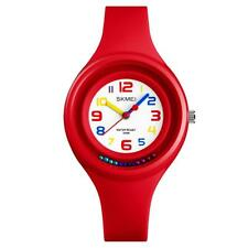 SKMEI Cute Red Analogue Kids Watch Clear Colours Rotating Beads Ages 5+