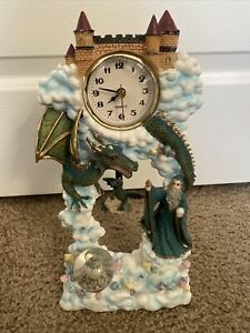 Collectible Castle Dragon Wizard In the Clouds Fantasy Clock With Pendulum